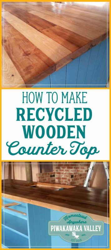 To save money building our house we built a recycled wooden countertop for our kitchen bench. These DIY instructions will show you how to make your own wooden counter. #diy #frugal #reno #kitchen