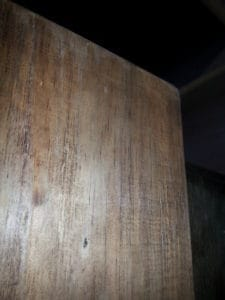 Then I slathered it in a good coat of the trusty Iron Acetate to start the aging of the timber. You can see how even after 10 minutes it is a light grey aged colour. Check out our post on making aged shelves to get the recipe for Iron Acetate – it is down the bottom of the post.