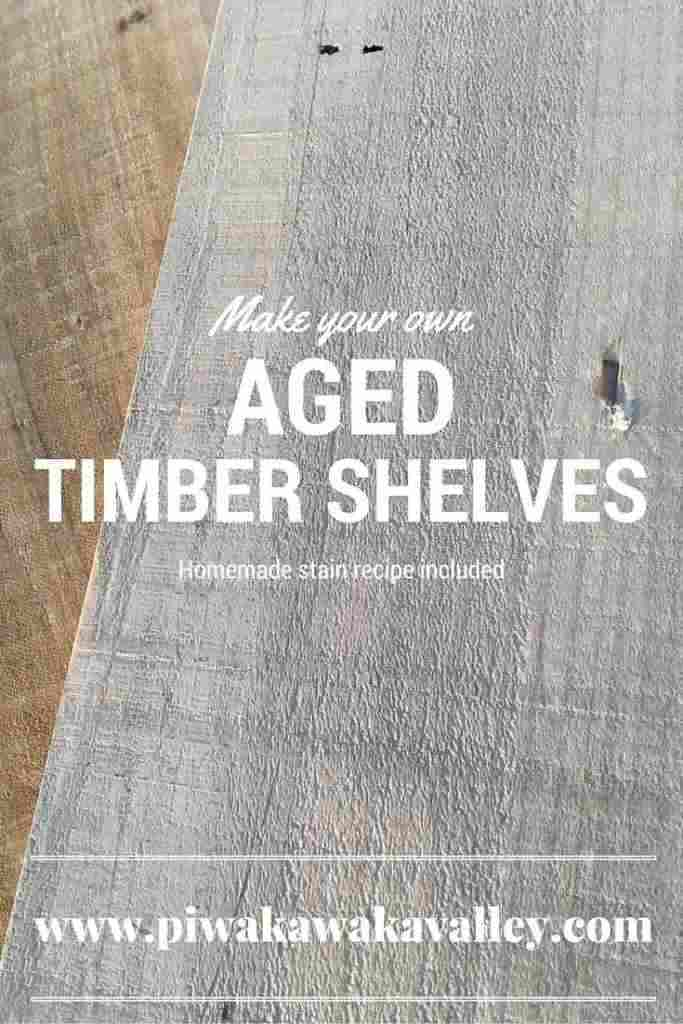 Make your own aged timber shelves - vinegar stain included - instantly age timber.