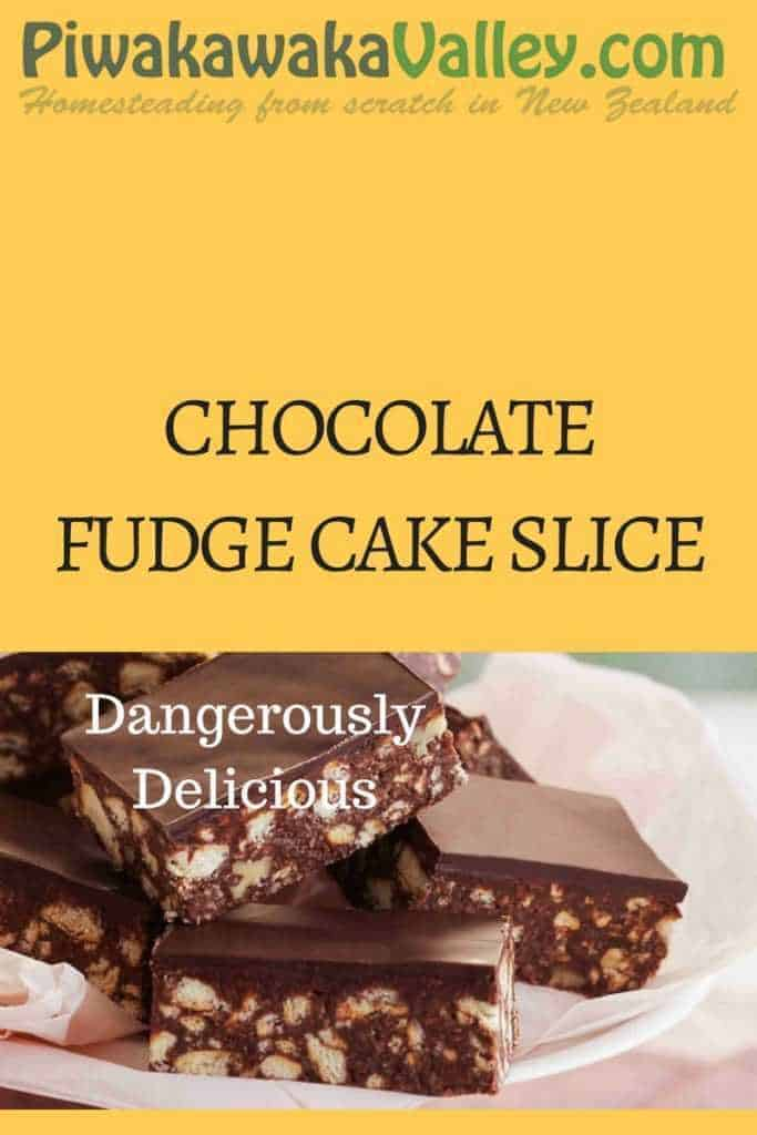 Super quick and easy, no bake CHOCOLATE FUDGE CAKE SLICE, Fudge Cake recipe