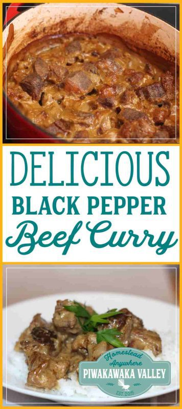 This black pepper curry is just divine. It is rich and warming without being too hot. It works beautifully in the slowcooker or crockpot or you can do it in the oven or cooktop. #curry #fromscratch #recipe
