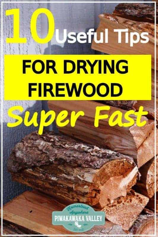 Check out these firewood tips: Seasoning firewood doesn't have to take forever! Here are some great hacks to help you get your firewood dry fast in time for Winter! Don't burn wet wood any more! #homesteading #piwakawakavalley