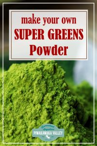 Make your own supergreens powder at home with these DIY instructions. Super greens powders are great to add to smoothies, omelets, soups, stews and pretty much anything you can think of. I have even heard of mums sneaking greens powders in to cakes and muffins. #piwakawakavalley