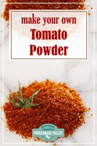 The best thing about making tomato powder at home, is that you can actually just use the scraps that you get after making ketchup or from canning tomatoes, you don't have to use the whole tomatoes for it. You can make tomato powder from the skins and seeds!