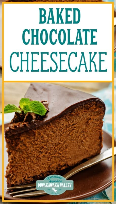 baked chocolate cheesecake recipe promo image